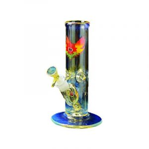 buy 9″ COLOR CHANGING GLASS-ON-GLASS STRAIGHT TUBE BONG WITH ICE PINCH