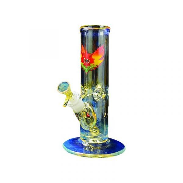 buy9″ COLOR CHANGING GLASS-ON-GLASS STRAIGHT TUBE BONG WITH ICE PINCH